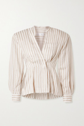TRE by Natalie Ratabesi Striped Cotton And Linen-blend Voile Blouse - Ivory