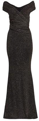 Talbot Runhof Lurex V-Neck Bodycon Gown