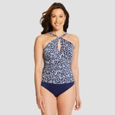 Dreamsuit by Miracle Brands Women's Slimming Control Halter Keyhole One Piece Swimsuit - Navy - 14 - Dreamsuit® by Miracle Brands