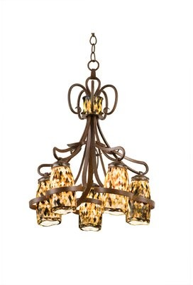 Monaco 5-Light Shaded Classic / Traditional Chandelier Kalco Finish: Antique Copper, Shade: Monaco Black Lip Side Shade