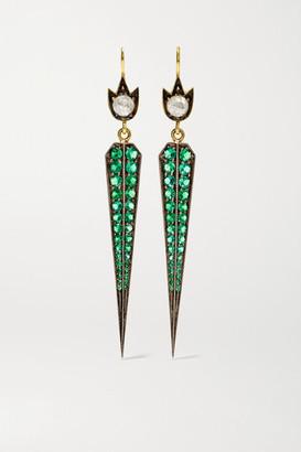 Sylva & Cie 18-karat Gold, Emerald And Diamond Earrings
