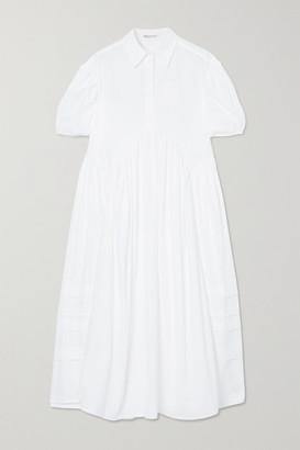 Cecilie Bahnsen Margo Gathered Cotton-poplin Midi Dress - White