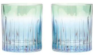 Luisa Beccaria Set Of Two Gradient Water Glasses - Green Multi