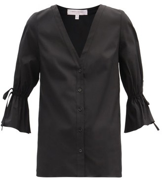 Carolina Herrera Fluted-sleeve Cotton-blend Poplin Shirt - Black