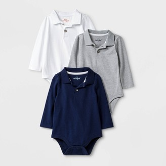 Cat & Jack Baby Boys' 3pk Long Sleeve Polo Bodysuits - Cat & JackTM White/Gray/