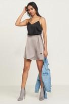 Dynamite Satin Wrap Mini Skirt