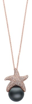 """Effy Cultured Tahitian Pearl (11.5mm) & Diamond (5/8 ct. t.w.) Starfish 18"""" Pendant Necklace in 14k Rose Gold"""