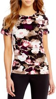 Calvin Klein Petites Rib Pleated Floral Print Matte Jersey Short Sleeve Top