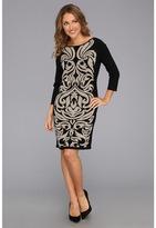 Nine West 3/4 Sleeve Shift Dress (Black/Grey Pearl) - Apparel