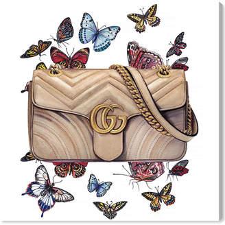 Oliver Gal Doll Memories -Butterflies Bag Canvas Art