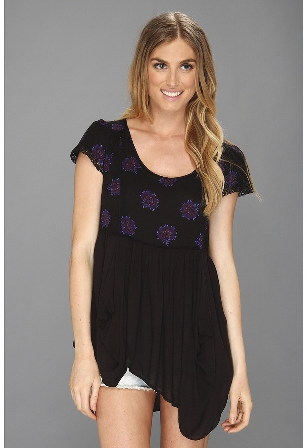 Free People Shake Your Dandelion Top (Black Combo) - Apparel