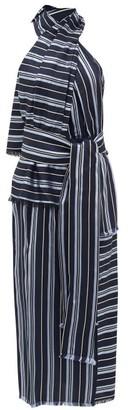 Altuzarra Columbine Halterneck Striped Midi Dress - Womens - Blue Stripe