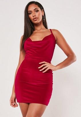 Missguided Red Velvet Strappy Cowl Neck Mini Dress