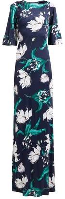 Erdem Ethelene Leighton Floral-print Jersey Dress - Womens - Navy Print