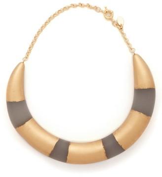 Vanda Jacintho - Striped Choker - Gold