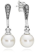 Pandora Drop Earrings - Sterling Silver, Cultured Freshwater Pearl & Cubic Zirconia Elegant Beauty