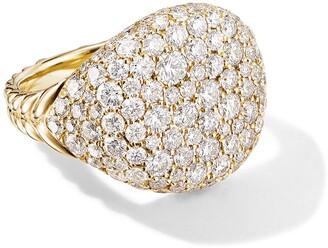 David Yurman 18kt yellow gold Chevron Pave diamond pinky ring