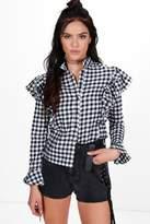 boohoo Petite Naomi Gingham Ruffle Shirt