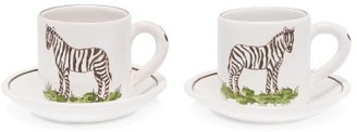 Zdg - Set Of Two Safari Espresso Cups And Saucers - White Multi