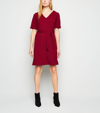 New Look Crepe V Neck Belted Tunic Dress