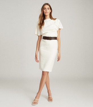 Reiss JOSIE ZIP-DETAIL BODYCON DRESS White