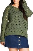 City Chic Open Spots Sweater (Plus Size)