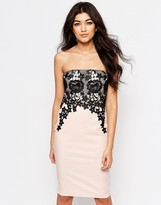 Paper Dolls Bandeau Dress With Lace Overlay