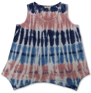 Style&Co. Style & Co Tie-Dyed Handkerchief-Hem Top, Created for Macy's