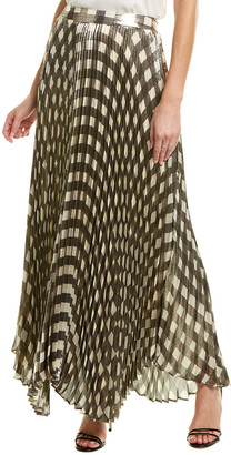 Alice + Olivia Metallic Pleated Silk-Blend Maxi Skirt