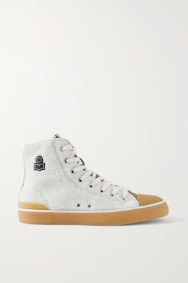 Isabel Marant Benkeen Suede, Canvas And Rubber-trimmed Faux Shearling Sneakers - Off-white