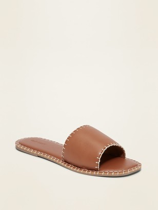 Old Navy Faux-Leather Whip-Stitched Slide Sandals for Women