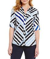 Calvin Klein Geometric Stripe Print Roll Sleeve Blouse