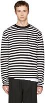 McQ by Alexander McQueen Black & White Striped Glyph Logo Sweater