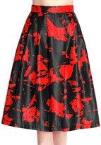 uxcell® Women High Waist Novelty Prints Pleated Midi Full Skirt