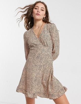 Miss Selfridge long sleeve mini dress in beige spot
