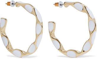 Kenneth Jay Lane 22-karat Gold-plated Enamel Hoop Earrings