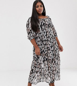 Religion Plus bardot midi dress in abstract animal print