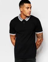 Asos Muscle Polo With Contrast Collar In Black