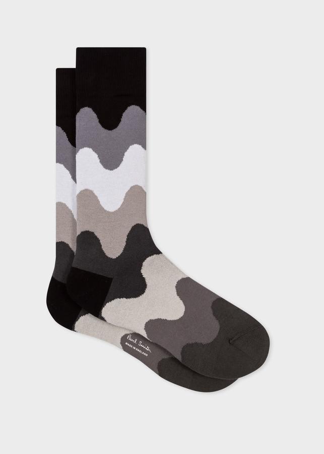 Paul Smith Men's Black Wave Stripe Socks