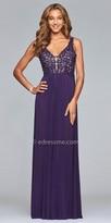 Faviana Illusion Applique A-line Prom Dress