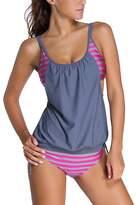 American Trends Women's Stripe Cover Up Tankini Panty Top Set Beachwear Swimwear