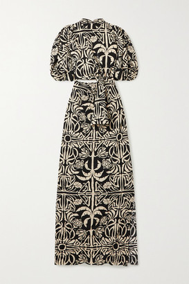 Johanna Ortiz Tropical Mola Cutout Printed Silk Crepe De Chine Maxi Dress - Black