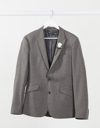 ASOS DESIGN wedding super skinny suit jacket in charcoal micro texture