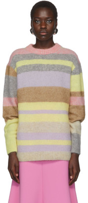 Acne Studios Purple and Yellow Oversized Striped Sweater