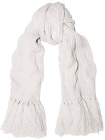 Johnstons of Elgin Cable-knit Cashmere Scarf - White
