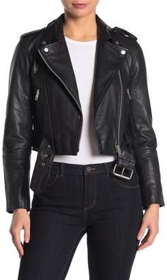 AVEC LES FILLES Leather Belted Cropped Biker Jacket