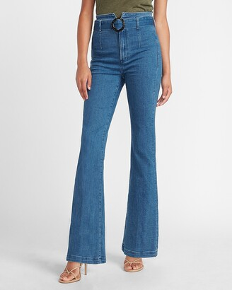 Express Super High Waisted O-Ring Belted Slim Flare Jeans