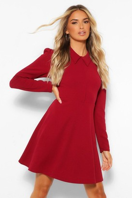boohoo Long Sleeve Collared Skater Dress