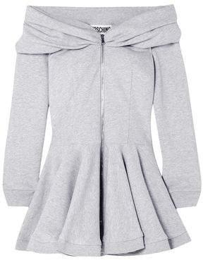 Moschino Off-the-shoulder Cotton-jersey Peplum Mini Dress