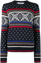 MSGM Crew Neck Fair Isle Knitted Jumper